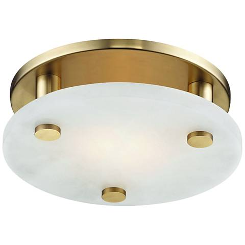 """Hudson Valley Croton 9"""" Wide Aged Brass LED Ceiling Light"""