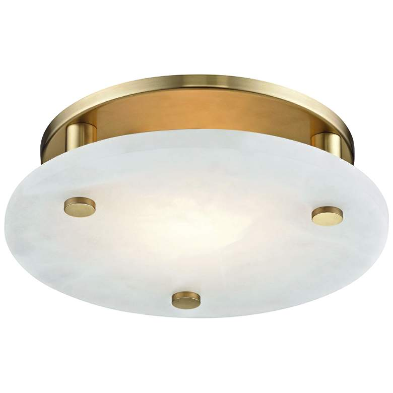 """Hudson Valley Croton 12 1/4""""W Aged Brass LED Ceiling Light"""