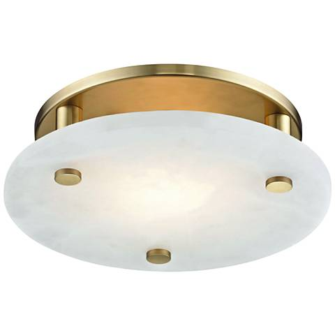 "Hudson Valley Croton 12 1/4""W Aged Brass LED Ceiling Light"