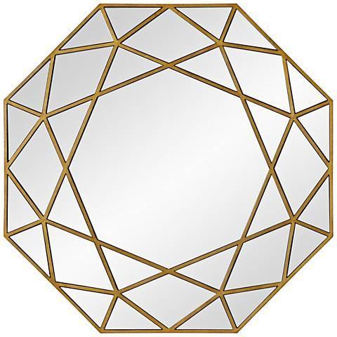 "Deloro Brushed Gold Veneer 40"" x 40"" Oversize Octagon Wall Mirror"