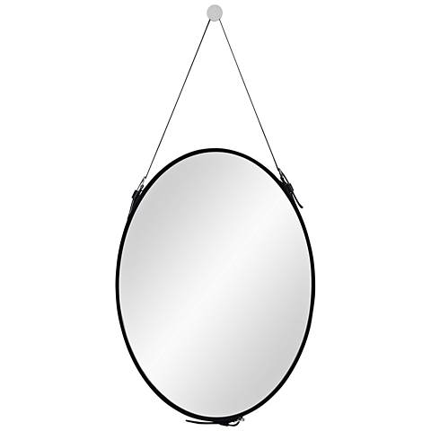 "Cordova Black Faux Leather 27"" x 50"" Oval Wall Mirror"
