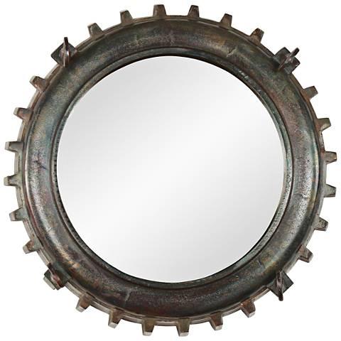 """Neston II Copper and Vintage Brass 16"""" Round Wall Mirror"""
