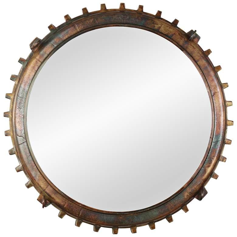 """Neston III Copper and Vintage Brass 26"""" Round Wall Mirror"""