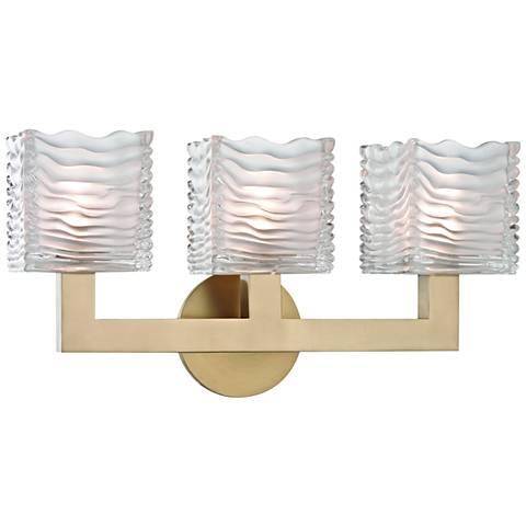 "Hudson Valley Sagamore 17 1/2""W Aged Brass 3-LED Bath Light"