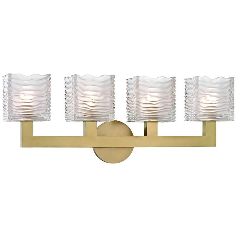 """Hudson Valley Sagamore 24"""" Wide Aged Brass 4-LED Bath Light"""
