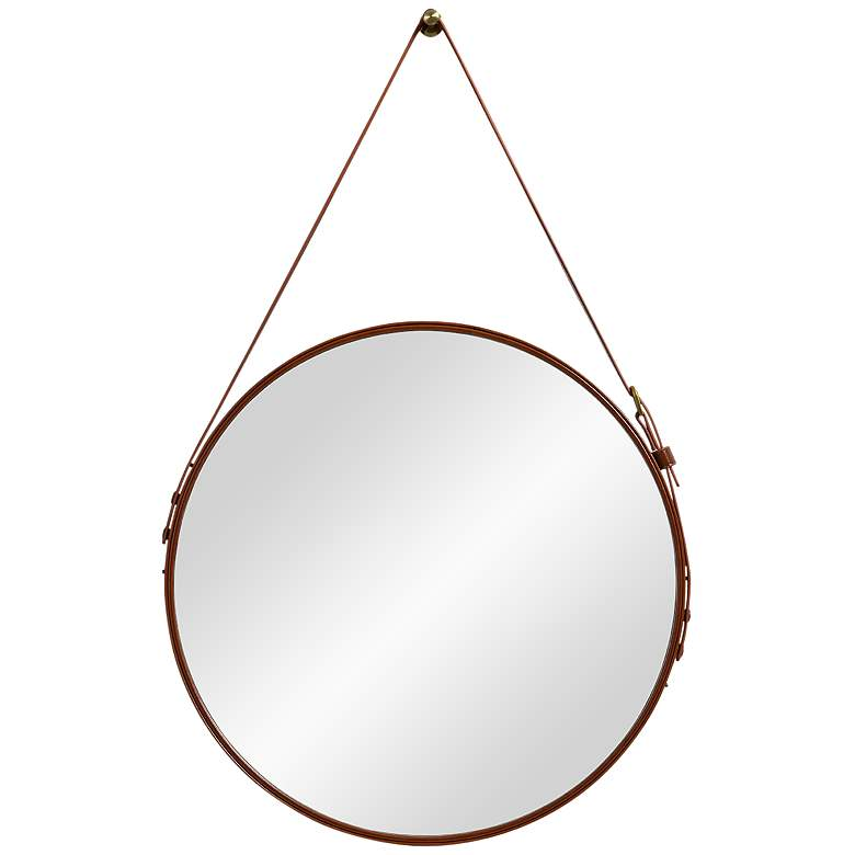 """Dormer Brown Faux Leather 20 1/2"""" x 33"""" Wall Mirror"""