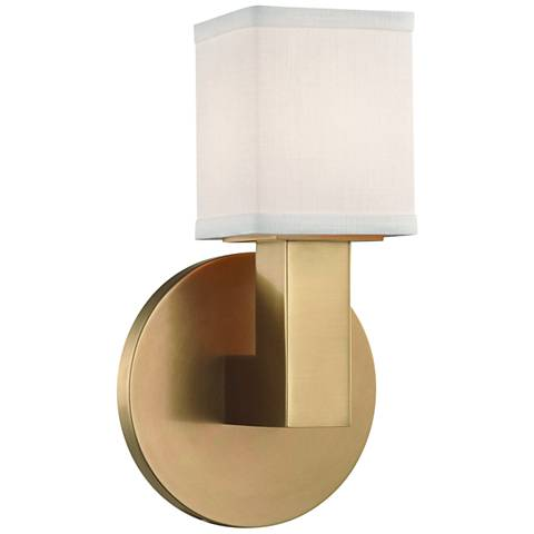 "Hudson Valley Clarke 8 3/4"" High Aged Brass LED Wall Sconce"