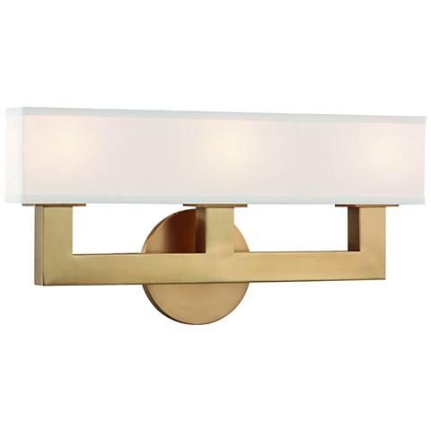 "Hudson Valley Clarke 16 1/2""W Aged Brass 3-LED Bath Light"