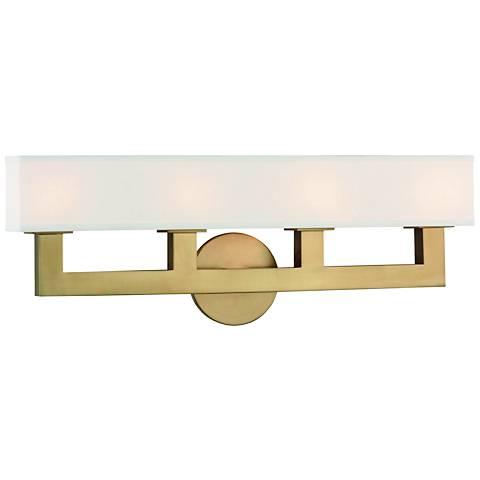 "Hudson Valley Clarke 23"" Wide Aged Brass 4-LED Bath Light"