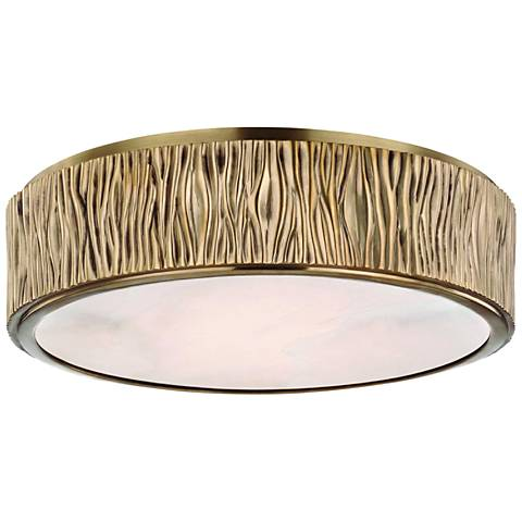 "Hudson Valley Crispin 13"" Wide Aged Brass LED Ceiling Light"