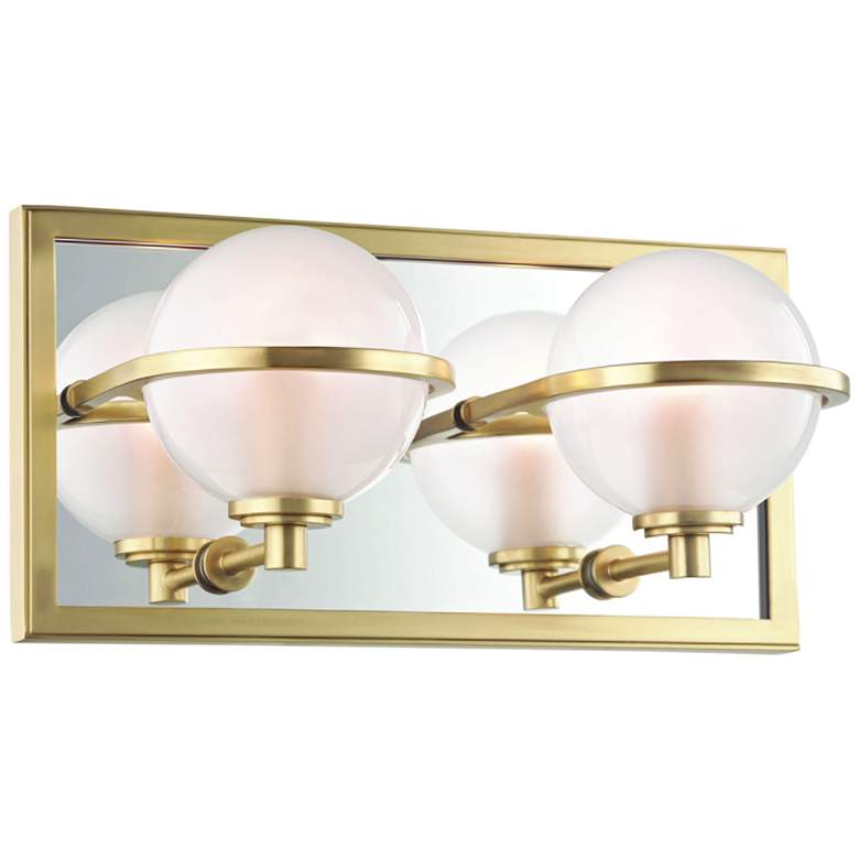 "Hudson Valley Axiom 6"" High Aged Brass 2-LED Wall Sconce"
