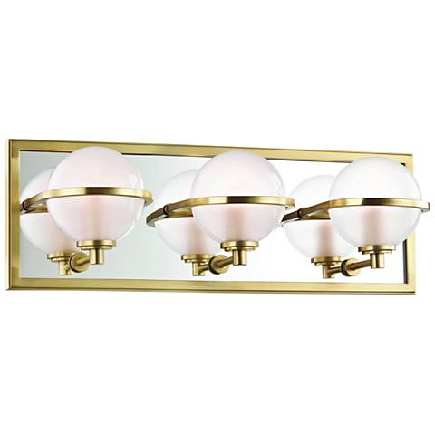 "Hudson Valley Axiom 18"" Wide Aged Brass 3-LED Bath Light"