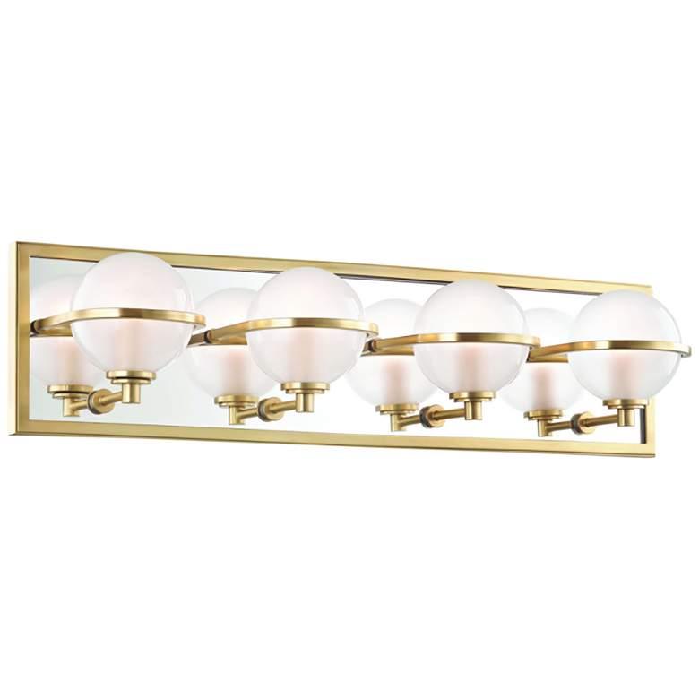 "Hudson Valley Axiom 24"" Wide Aged Brass 4-LED Bath Light"