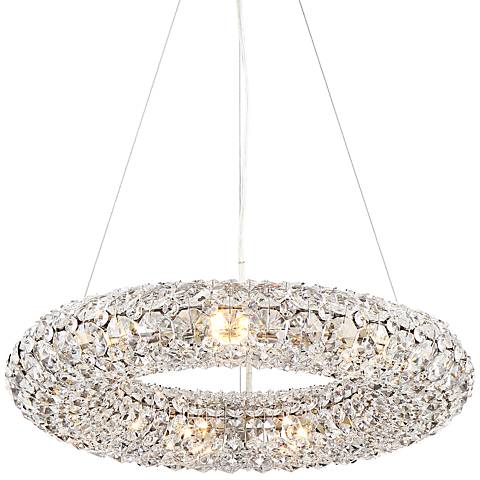 """Halo 19 1/2"""" Wide Chrome and Crystal Ring Pendant Light"""