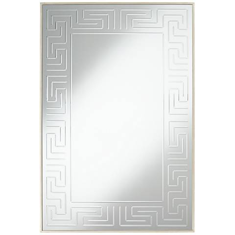 "Mykos Champagne Greek Key Etched 28"" x 42"" Wall Mirror"