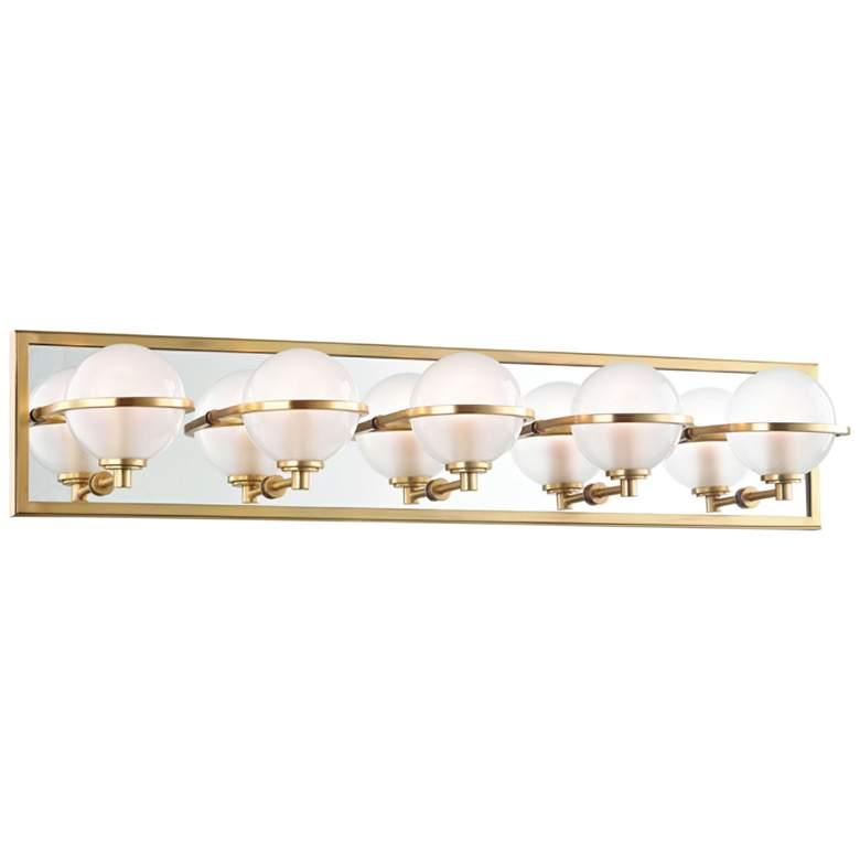 "Hudson Valley Axiom 30"" Wide Aged Brass 5-LED Bath Light"