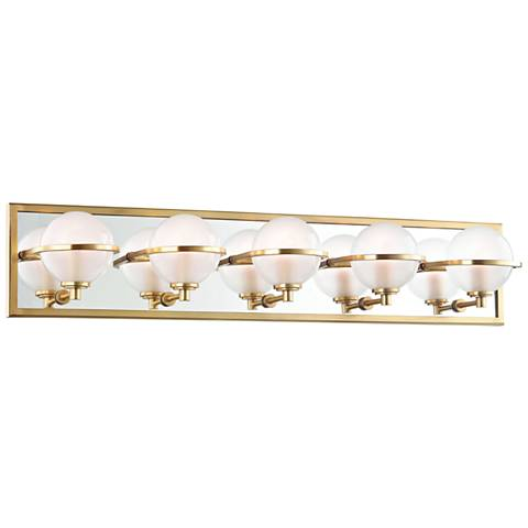 "Hudson Valley Axiom 30"" Wide Aged Brass 5-LED Bath Light"