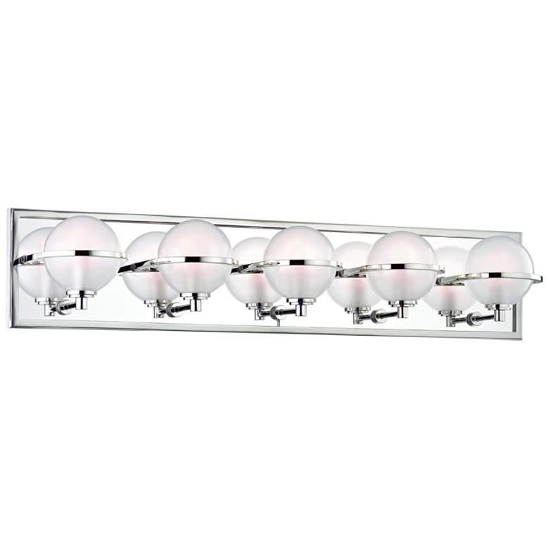 """Hudson Valley Axiom 30""""W Polished Nickel 5-LED Bath Light"""