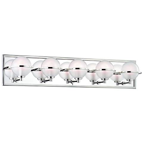 "Hudson Valley Axiom 30""W Polished Nickel 5-LED Bath Light"