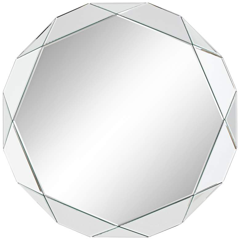 """Griffin 33"""" Round Geometric Angle Cut Wall Mirror"""