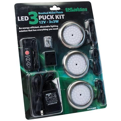 """3.5""""W Brushed Nickel LED 3-Puck Light Kit"""
