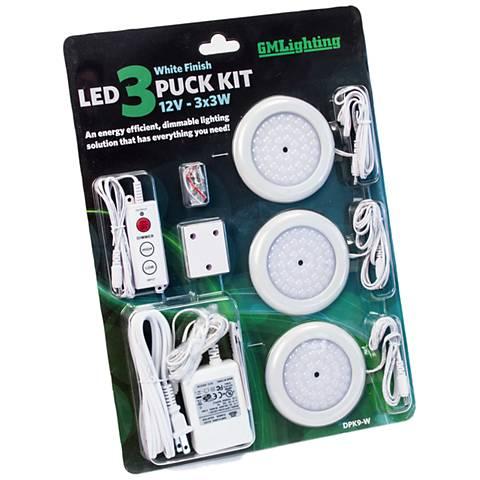 """DPK Series 3.5"""" Wide White LED 3-Puck Light Kit"""