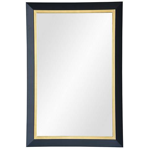 """Beillings Dark Gray and Antique Gold 24"""" x 36"""" Wall Mirror"""