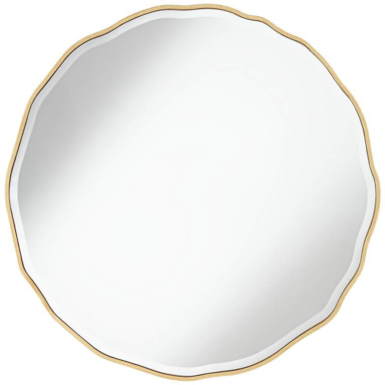 "Lissa Gold Waved Edge 31 1/2"" x 31 1/2"" Wall Mirror"
