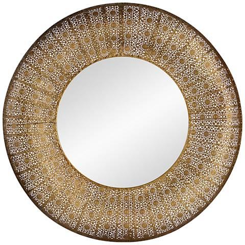 "Aristo Hand-Painted Gold 28 3/4"" Round Wall Mirror"