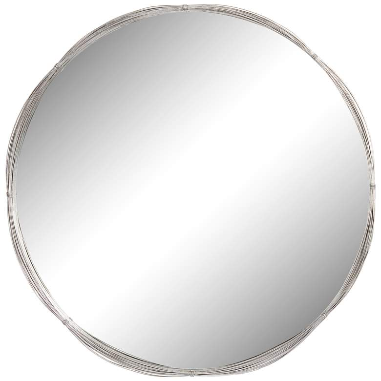 """Silver Stacked Wire 34"""" Round Wall Mirror"""