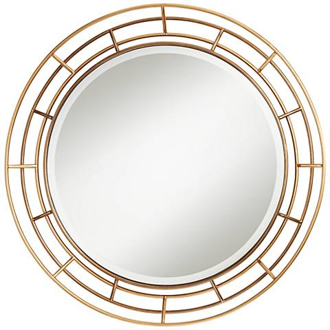 "Gold Layered Wire 34"" Round Wall Mirror"
