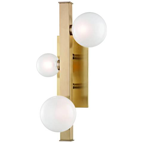 "Hudson Valley Mini Hinsdale 17 3/4""H Brass 3-LED Wall Sconce"