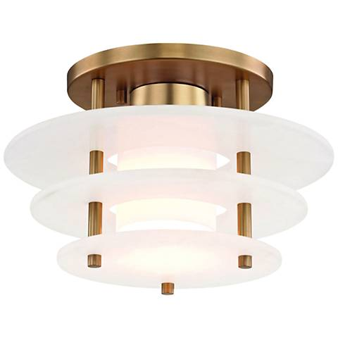 "Hudson Valley Gatsby 11 3/4""W Aged Brass LED Ceiling Light"