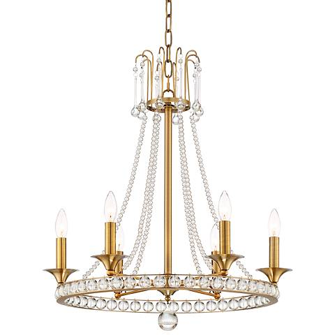 "Gaylia 23 1/2"" Wide Brass 6-Light Crystal Chandelier"