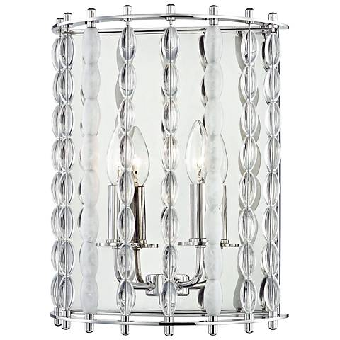 "Hudson Valley Whitestone 14"" High Nickel 2-Light Wall Sconce"