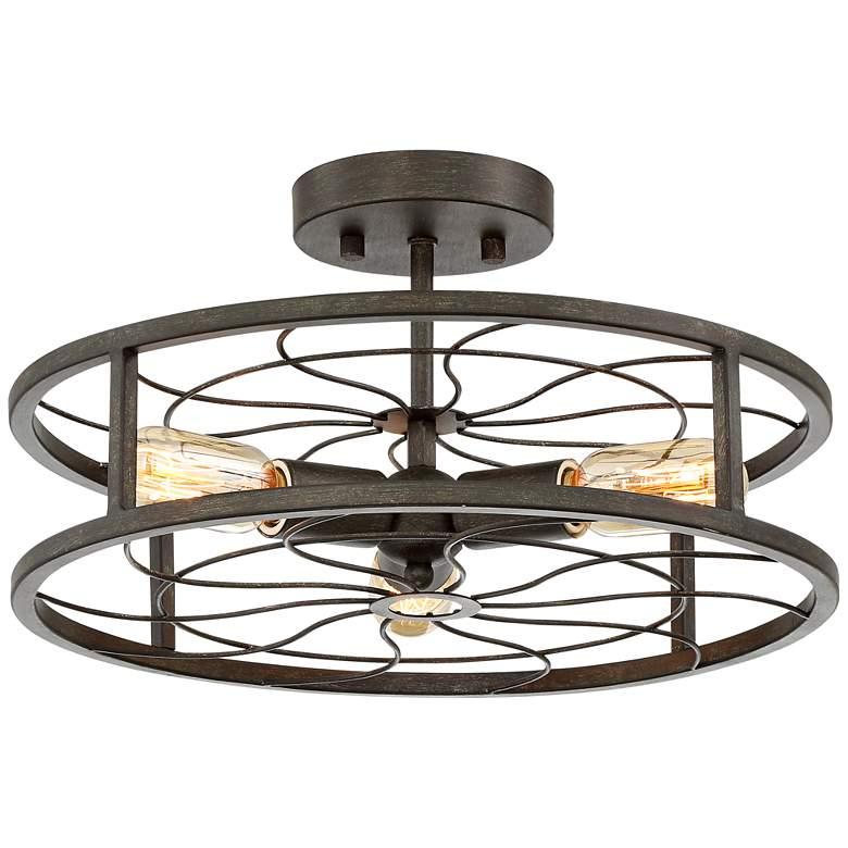 "Bailey 15 3/4"" Wide Antique Iron 3-Light Ceiling Light"