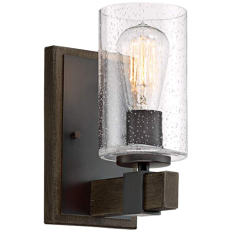 """Poetry 9"""" High Seedy Glass Wood Grain Accent Wall Sconce"""