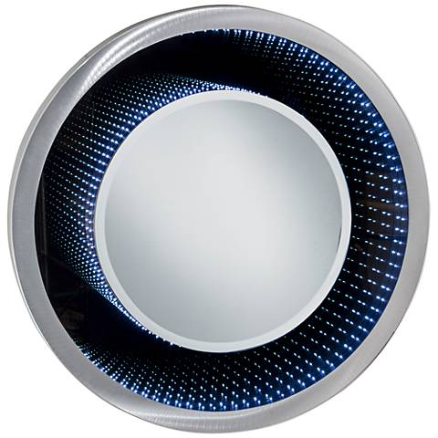 "Nova Vanishing Infinity Silver 39"" Round LED Wall Mirror"