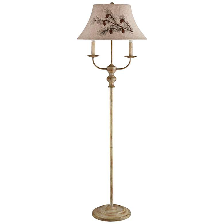 Bayfield Taupe Metal Floor Lamp with Pinecone Pattern Shade