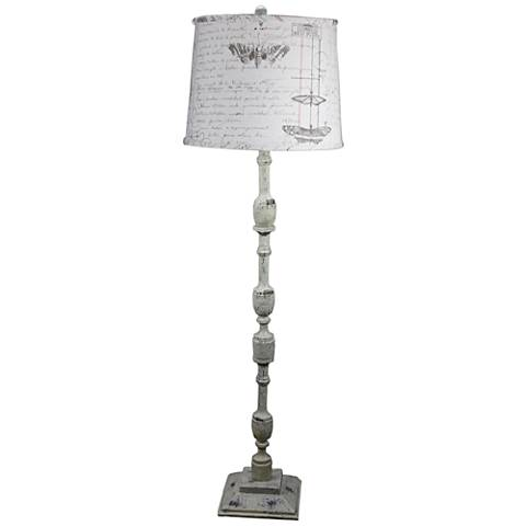Harlan Distressed Ivory Floor Lamp with Antique Ledger