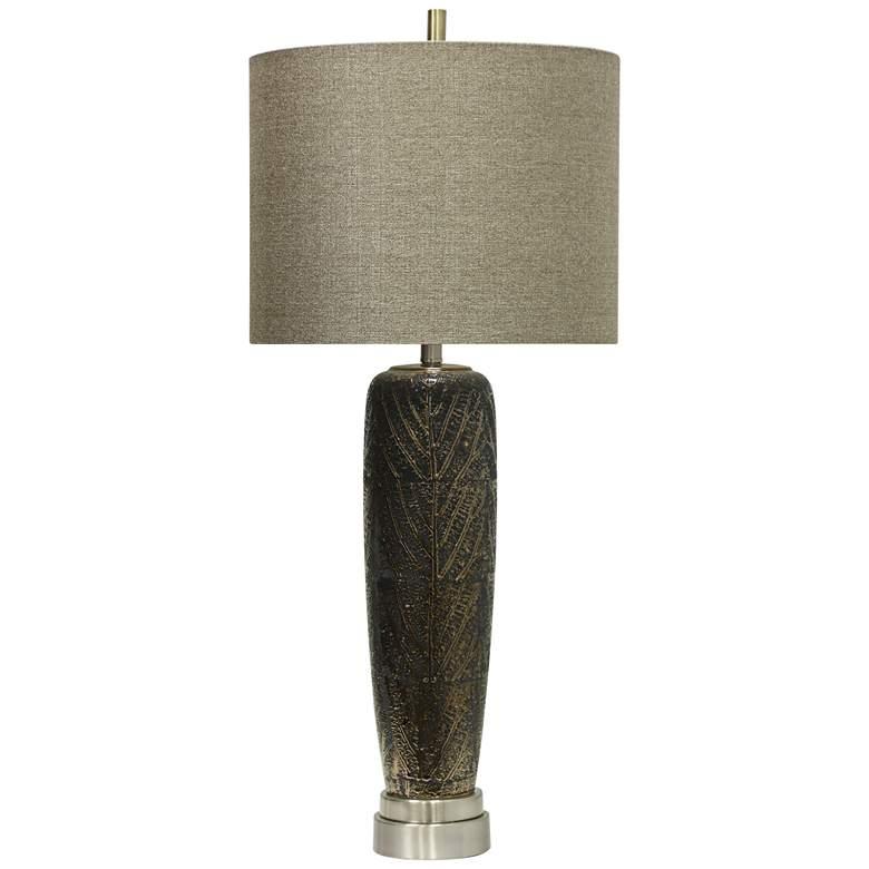 Whipple Metallic Leaf Vein Motif Brown Ceramic Table Lamp