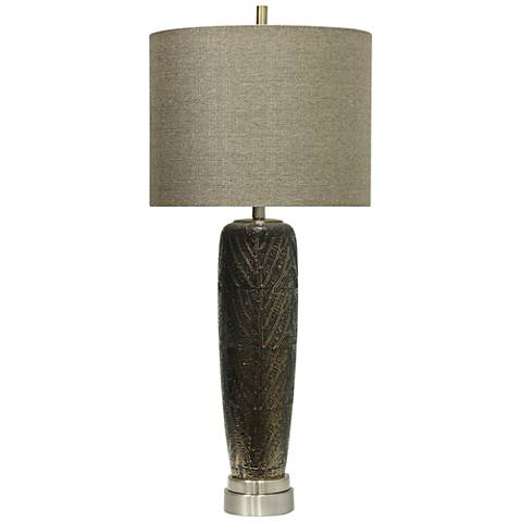Whipple Metallic Leaf Vein Motif Brown Ceramic Table Lamp