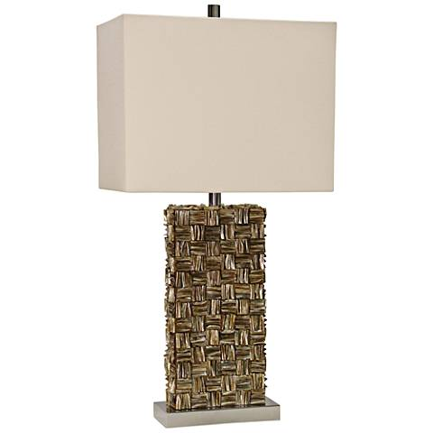 Mystic capiz shell gold table lamp with rectangular shade 24r00 mystic capiz shell gold table lamp with rectangular shade aloadofball Image collections