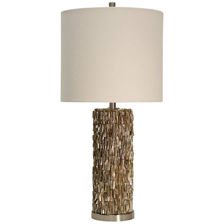 Mystic Capiz Shell Gold Table Lamp with Drum