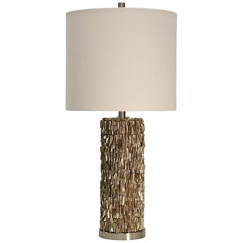 Mystic Capiz Shell Gold Table Lamp with Drum Shade