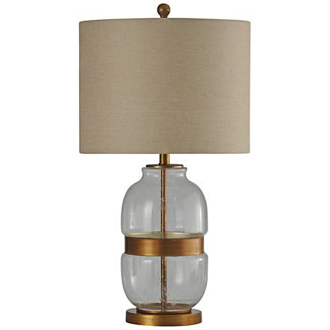 Midfield Clear Glass and Gold Table Lamp