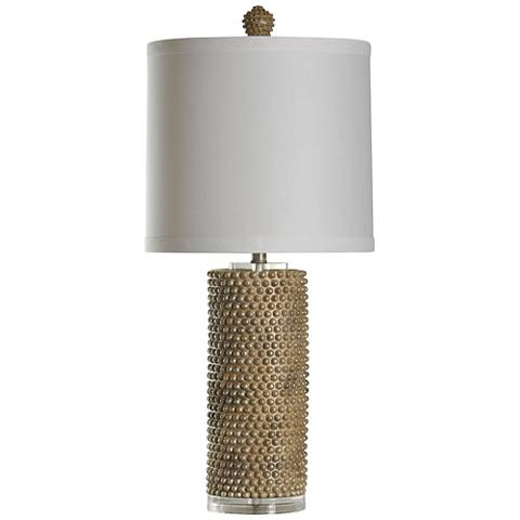 Hanover Georgian Silver and Gold Beaded Ceramic Table Lamp