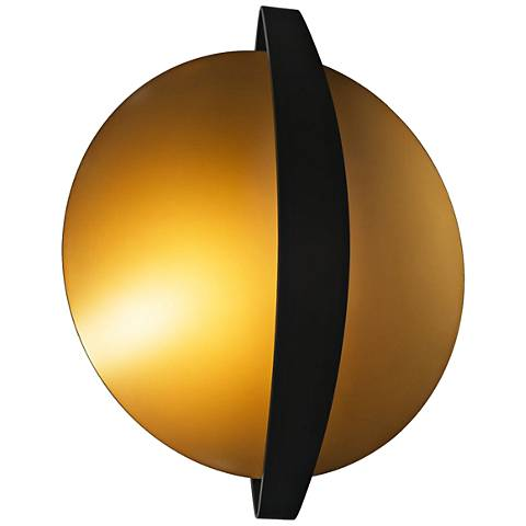 """Round Indi 15 1/4"""" High Black and Gold LED Wall Sconce"""