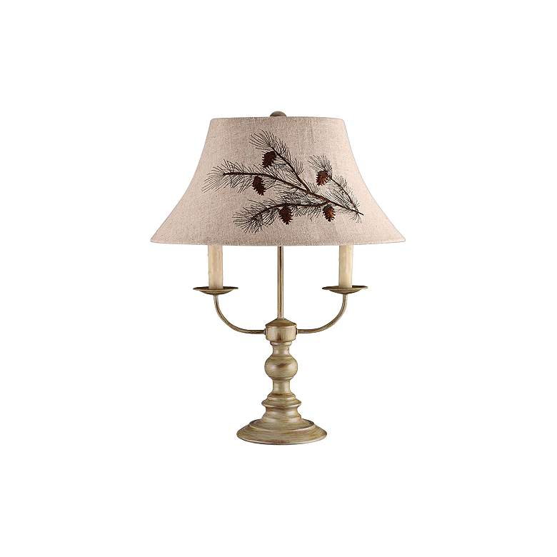 Bayfield Taupe Metal Table Lamp with Pinecone Shade