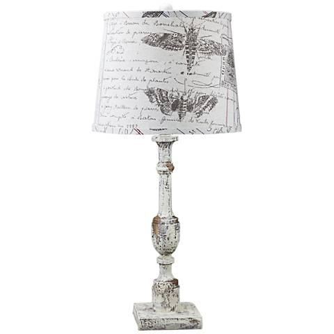 Harlan Distressed Ivory Table Lamp with Antique Ledger